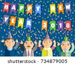 2018 happy new year people flat ... | Shutterstock . vector #734879005