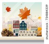 letters spelling hello autumn... | Shutterstock .eps vector #734884339