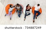 multiethnic young friends ... | Shutterstock . vector #734887249