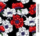 red poppy on black background. ...   Shutterstock .eps vector #734889481