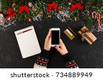christmas online shopping.... | Shutterstock . vector #734889949