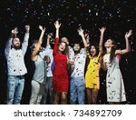 party people. group of young... | Shutterstock . vector #734892709