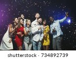 party people. group of young... | Shutterstock . vector #734892739