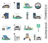 electric car charging public... | Shutterstock . vector #734893111