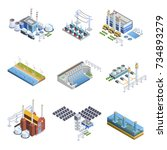 isometric images set of... | Shutterstock . vector #734893279