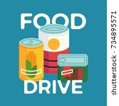 food drive simple concept... | Shutterstock .eps vector #734895571