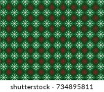 green and red snowflake... | Shutterstock .eps vector #734895811