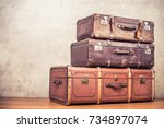 vintage old classic big travel... | Shutterstock . vector #734897074