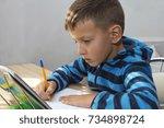 young kid  boy doing homework... | Shutterstock . vector #734898724
