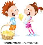 children under the christmas... | Shutterstock .eps vector #734900731