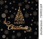 merry christmas vector text... | Shutterstock .eps vector #734901169