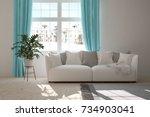 idea of white minimalist room... | Shutterstock . vector #734903041