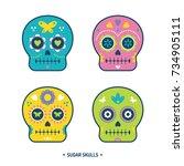 sugar skulls day of the dead... | Shutterstock .eps vector #734905111