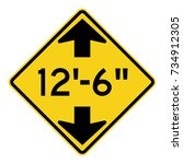 us road warning sign  low... | Shutterstock .eps vector #734912305