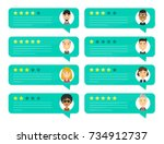 review rating bubble speeches.... | Shutterstock .eps vector #734912737