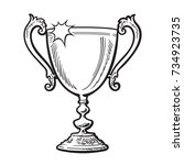 trophy winner cup  award. black ...   Shutterstock .eps vector #734923735