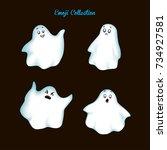 set vintage emoji ghost | Shutterstock .eps vector #734927581