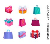 gift box and bag set  eps 8 | Shutterstock .eps vector #734929444