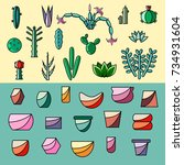 set of succulents and pots.... | Shutterstock .eps vector #734931604