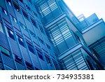 blue building facade | Shutterstock . vector #734935381