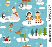 seamless pattern with eskimos... | Shutterstock .eps vector #734937307