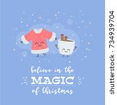 merry christmas card with cute... | Shutterstock .eps vector #734939704
