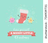 merry christmas card with cute... | Shutterstock .eps vector #734939731