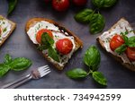 bread cheese spread baked... | Shutterstock . vector #734942599