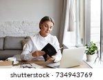 indoor shot of serious... | Shutterstock . vector #734943769