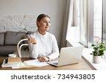 beautiful mature female english ... | Shutterstock . vector #734943805