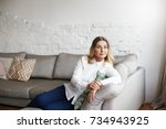 portrait of confident and... | Shutterstock . vector #734943925