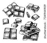 hand drawn set of chocolate... | Shutterstock . vector #734944909