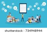 flat design style web banner... | Shutterstock .eps vector #734948944