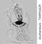 Dance Girl Silhouette On Grey...