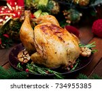baked turkey or chicken. the... | Shutterstock . vector #734955385
