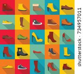 footwear shoes icon set. flat... | Shutterstock .eps vector #734957011