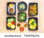 healthy food delivery. take... | Shutterstock . vector #734958241