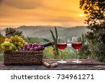 red wine bottle and wine glass... | Shutterstock . vector #734961271