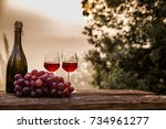 red wine bottle and wine glass... | Shutterstock . vector #734961277