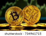 physical version of bitcoin ... | Shutterstock . vector #734961715