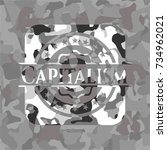 capitalism on grey camouflaged... | Shutterstock .eps vector #734962021