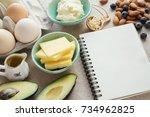 keto  ketogenic diet with... | Shutterstock . vector #734962825