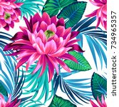 vector tropical pattern with... | Shutterstock .eps vector #734965357