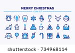 big set of linear christmas and ... | Shutterstock .eps vector #734968114