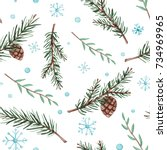 winter seamless pattern of... | Shutterstock . vector #734969965