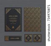 luxury wedding invitation or...   Shutterstock .eps vector #734970871