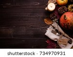 thanksgiving decoration with... | Shutterstock . vector #734970931