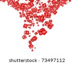 Falling red cubes with percent - stock photo
