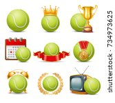 tennis ball icon set. isolated... | Shutterstock .eps vector #734973625
