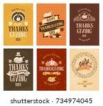 typography set for thanksgiving ...   Shutterstock .eps vector #734974045
